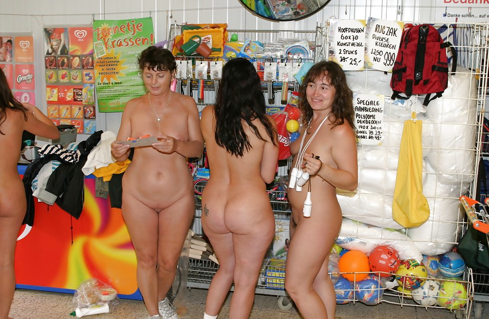 Matchless Nude girls in shoping mall