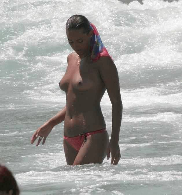 The sea seems to be cold today according to the state of her nipples